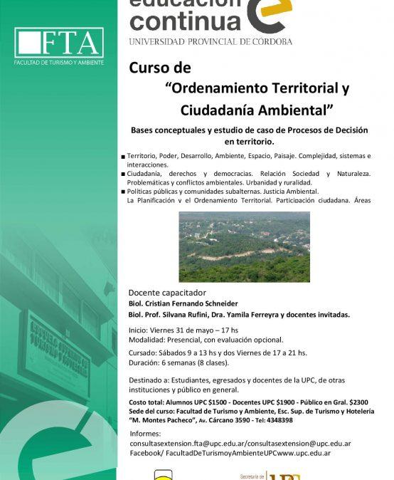 Curso:Ordenamiento Territorial y Ciudadanía Ambiental