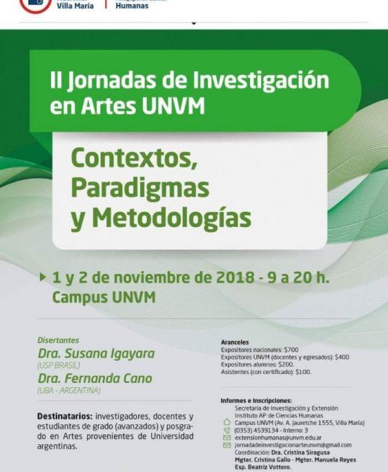 II Jornadas de Investigación en Artes de la Universidad Nacional de Villa María