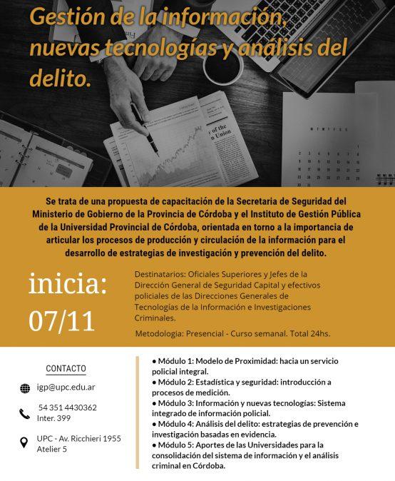 Curso de Capacitación: Gestión de la Información, nuevas tecnologías y análisis del delito