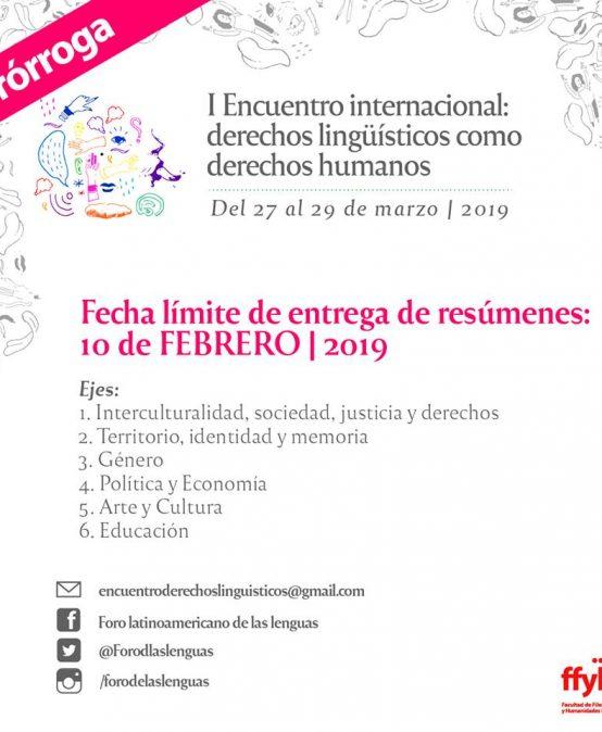 Prórroga para participar del Encuentro Internacional: derechos lingüísticos como derechos humanos