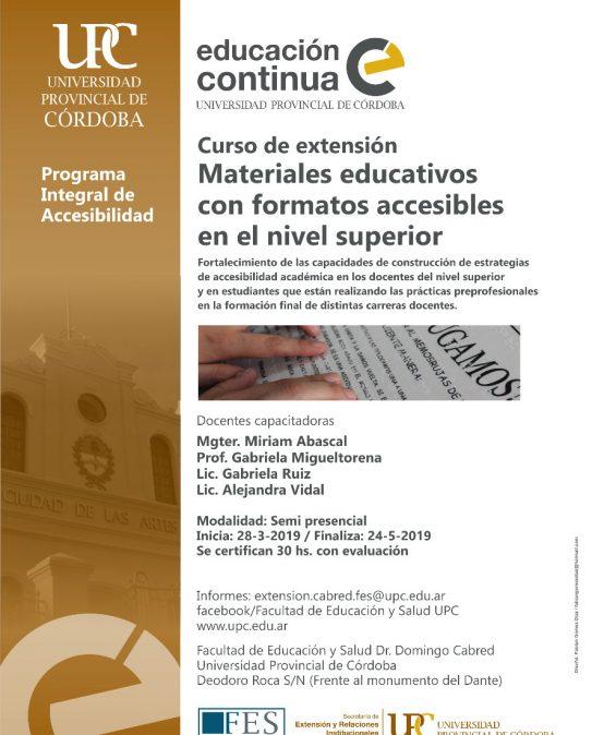 Curso: Materiales educativos con formatos accesibles en el nivel superior