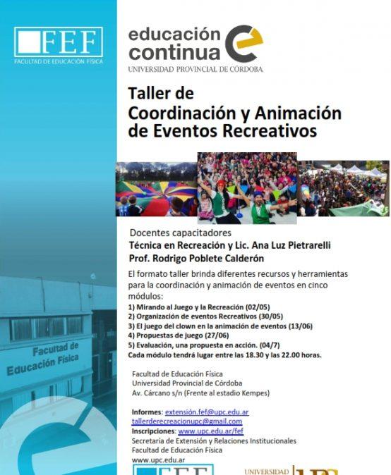 Taller de Coordinación y Animación de Eventos Recreativos