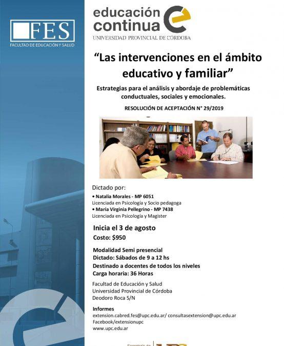 Curso: Las intervenciones en el ámbito educativo y familiar