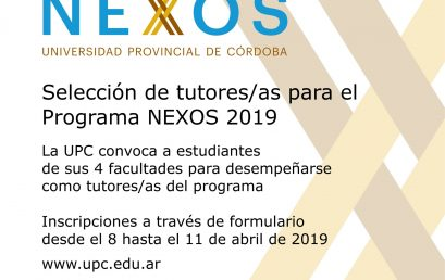 Convocatoria: selección de tutores/as para el Programa NEXOS 2019