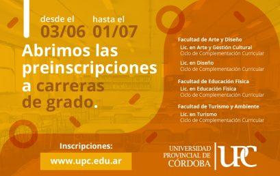 Abrieron las pre inscripciones para las Licenciaturas de la UPC