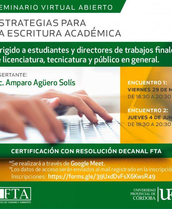 Seminario virtual abierto: Estrategias para la escritura académica