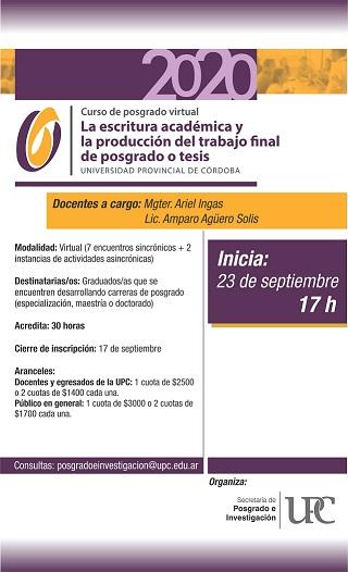 Curso de posgrado: La escritura académica y la producción del trabajo final de posgrado o tesis