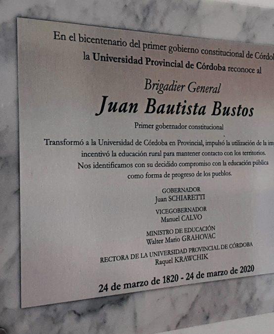 Juan Bautista Bustos, Primer Gobernador Constitucional y defensor de la educación